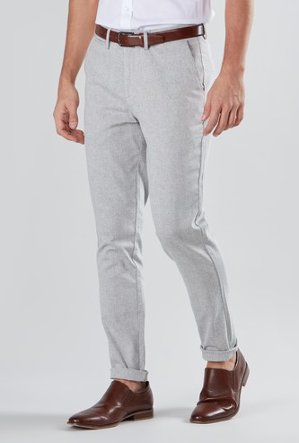 Slim Fit Textured Full Length Chinos with Pocket Detail