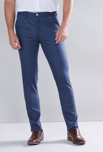 Full Length Slim Fit Plain Trousers with Pocket Detail