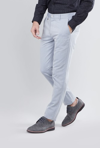 Slim Fit Mid-Rise Textured Trousers with Pocket Detail