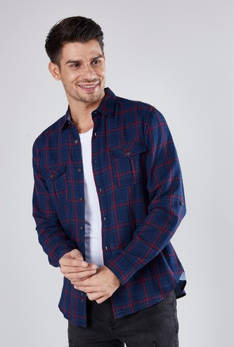Slim Fit Checkered Shirt with Long Sleeves