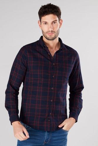 قميص سليم كاروهات بياقة عادية وأكمام طويلة