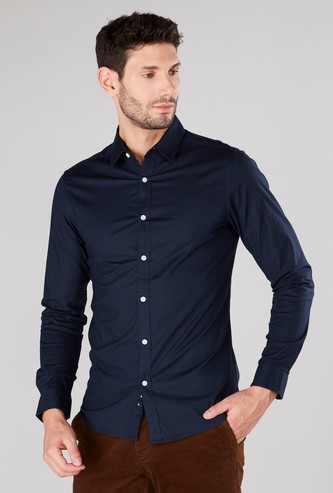 Plain Button Through Shirt with Long Sleeves and Elbow Patches