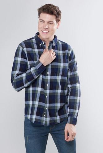 قميص كاروهات بوصلة أزرار وأكمام طويلة