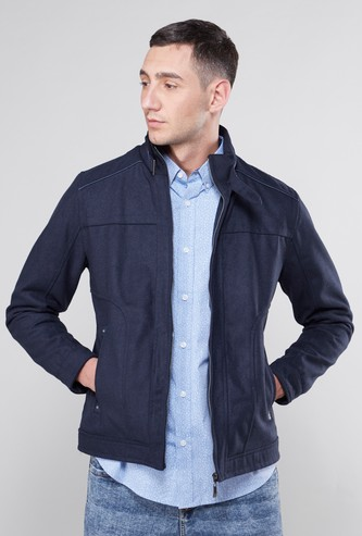 Textured High Collared Jacket with Pockets and Zip Closure