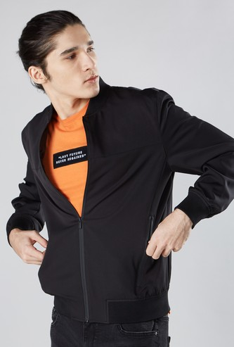 Plain Bomber Jacket with Pocket Detail and Long Sleeves