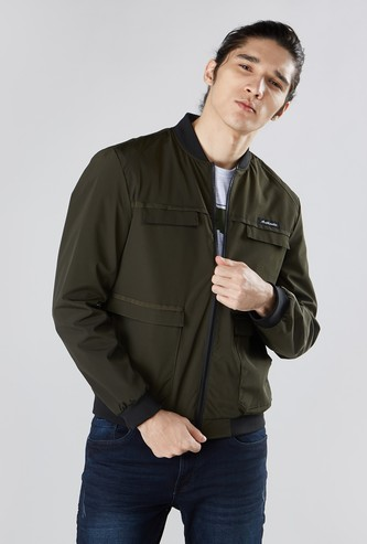 Solid Zip Front Bomber Jacket with Long Sleeves