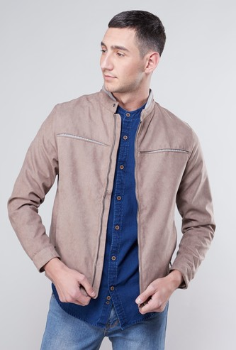 Textured Bomber Jacket with Long Sleeves