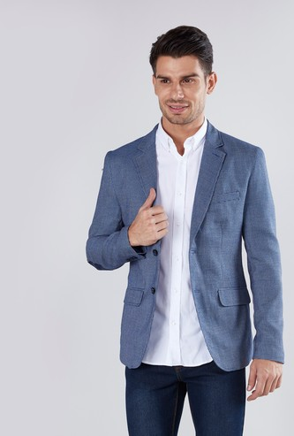 Textured Blazer with Long Sleeves and Elbow Patch