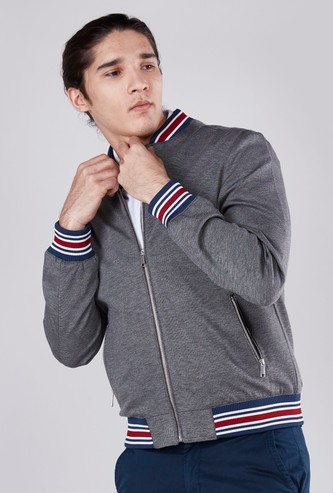 Solid Bomber Jacket with Striped Hems and Zippered Pockets