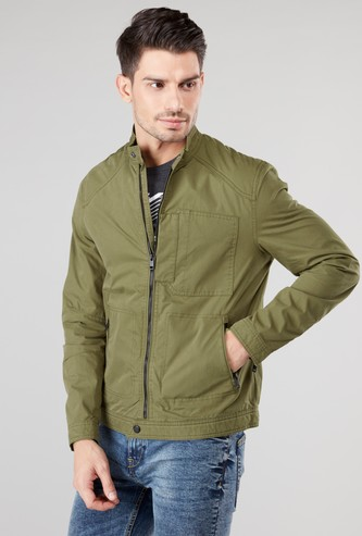 Plain Bomber Jacket with Long Sleeves and Pocket Detail
