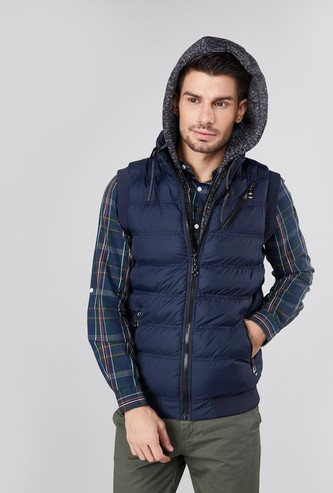 Textured Gilet Jacket with Pockets and Hood