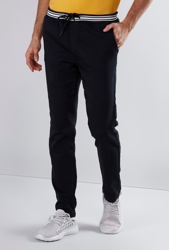 Slim Fit Plain Chinos with Pocket Detail and Drawstring Closure