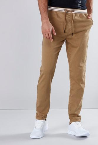 Slim Fit Plain Chinos with Pocket Detail and Drawstring Closure