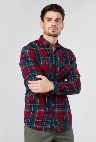 Slim Fit Checked Shirt with Spread Collar and Long Sleeves