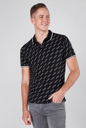 Slim Fit Printed Collared T-shirt with Short Sleeves and Tape Detail