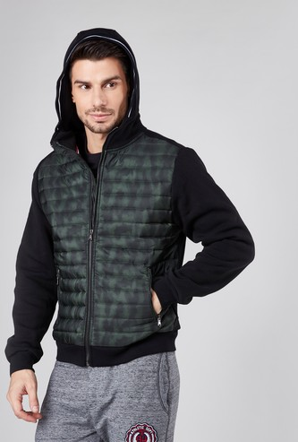 Hooded Jacket with Puffer Panels and Front Zip Closure