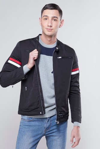 Stripe Detail Bomber Jacket with Long Sleeves and Pocket Detail