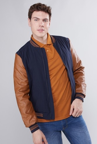Contrast Detailed Bomber Jacket with Long Sleeves and Zip Closure