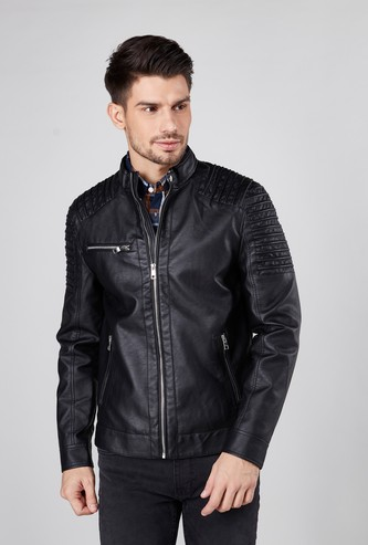 Textured Biker Jacket with Long Sleeves