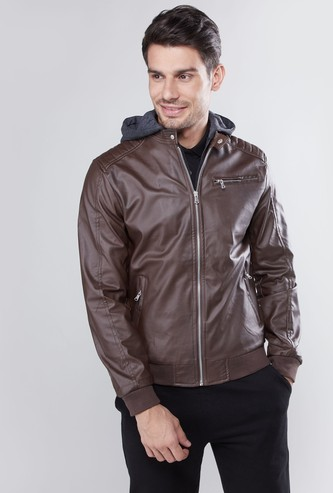 Plain Bomber Jacket with Hood and Pocket Detail