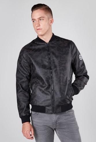 Printed Bomber Jacket with Long Sleeves and Kangaroo Pockets