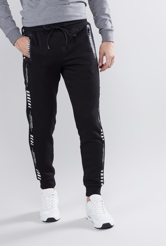 Tape Detail Jog Pants with Elasticised Waistband and Drawsring