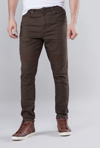 Skinny Fit Mid-Rise Pants with Button Closure