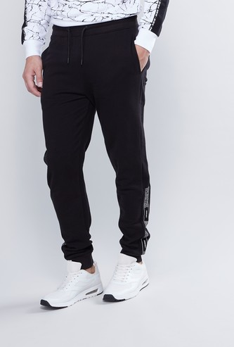 Slim Fit Full Length Mid Rise Printed Jog Pants with Pocket Detail