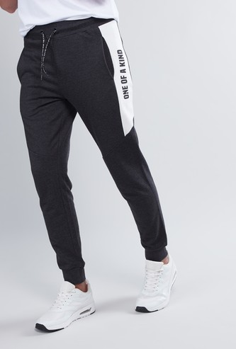 Slim Fit Printed Mid-Rise Joggers with Drawstring Waistband