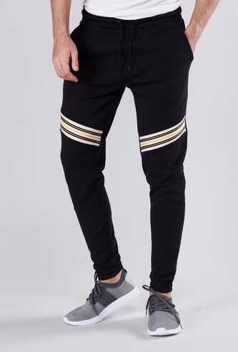 Slim Fit Full Length Mid Rise Striped Jog Pants with Pocket Detail