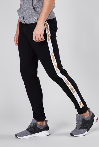 Slim Fit Printed Tape Detail Cuffed Joggers with Elasticated Waistband