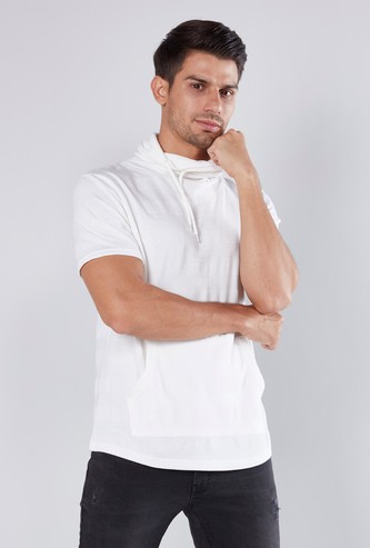 Slim Fit Textured T-shirt with Cowl Neck and Short Sleeves
