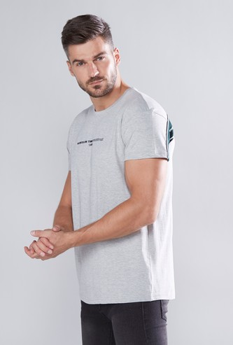 Slim Fit Tape Detail T-shirt with Round Neck and Short Sleeves