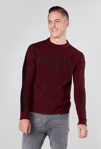 Embroidered Round Neck Sweater with Long Sleeves and Tape Detail