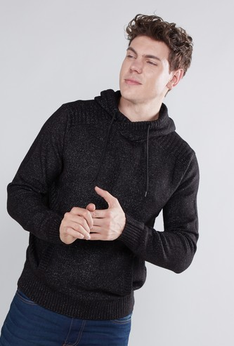 Textured Sweater with Kangaroo Pockets and Hood