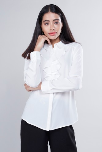 Ruffle Detail Top with Long Sleeves