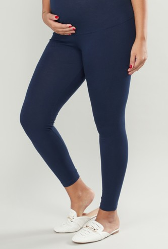 Plain Maternity Leggings with Elasticised Waistband