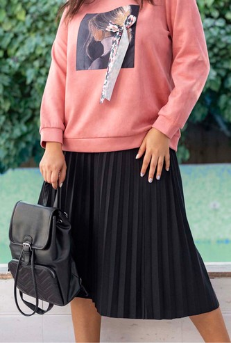 Solid Pleated Midi Skirt with Elasticised Waistband