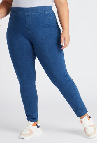 Solid Full Length Mid-Rise Jeggings