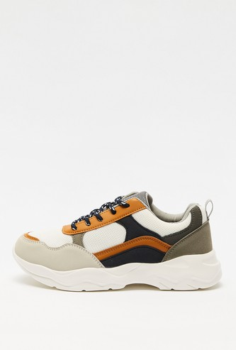 Panelled Lace-Up Sports Shoes with Pull Tab