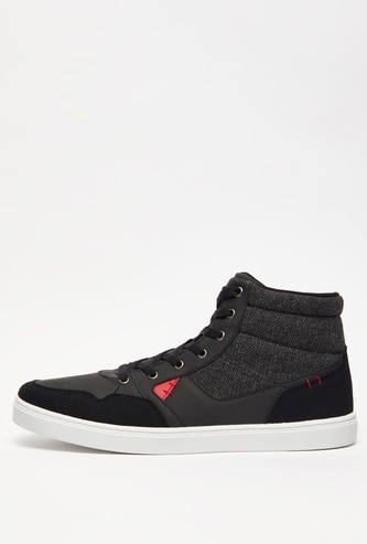 Textured Mid-Top Lace-Up Boots