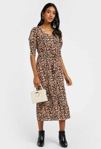 Printed Midi V-neck Dress with Long Sleeves and Tie Ups