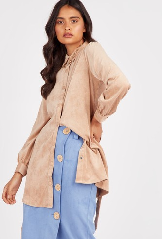 Corduroy Longline Shirt with Collar and Long Sleeves