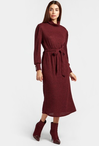 Textured Midi Ribbed Dress with Long Sleeves and Belt