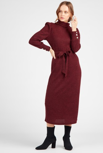 Ribbed Midi Shift Dress with Roll Over Collar and Sash