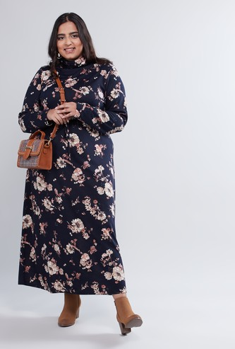 Floral Printed Maxi Dress with High Neck and Long Sleeves