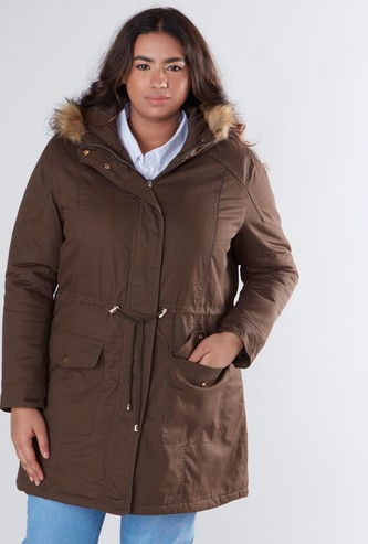 Solid Parka Jacket with Fur Embellished Hood