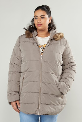 Textured Parka Jacket with Long Sleeves and Hood