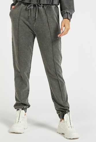 Stone Wash Solid Jog Pants with Pockets and Drawstring