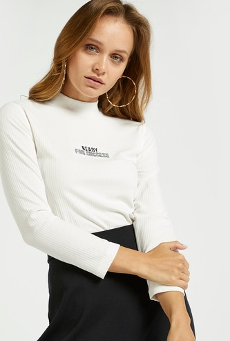 Text Print Ribbed Top with High Neck and 3/4 Sleeves